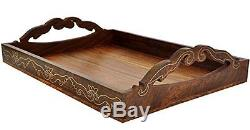 SouvNear Elegant Handmade Wood Serving Tray for Your Kitchen, Dining Room, Bar