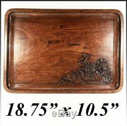 Splendid 19th C. Antique Asian Teak Bar or Serving Tray, 18.75 x 10.5, Carved