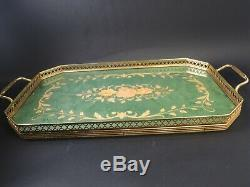 Stunning Vintage Sorrento Italian Inlaid Wood Marquetry Green Serving Tray