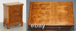 Sublime Burr Walnut Side Table Sized Chest Of Drawers With Butlers Serving Tray