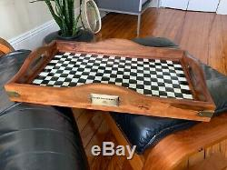 Superb Large MACKENZIE CHILDS Wood & Metal Hostess SERVING TRAY, Courtly Check
