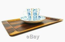 Swedish Modernist Vint Brazilian Rosewood Veneer Sm Molded Wood Serving Tea Tray
