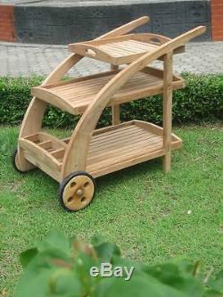 Teak Wood Trolley Cart With Serving Tray & Bottle Rack Patio Outdoor Furniture