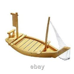 THY COLLECTIBLES Wooden Japanese Sashimi Sushi Boat Plate Serving Tray With F