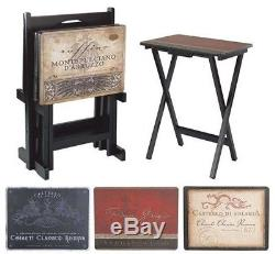 TV Dinner Serving Trays Folding Tray 4 Set Home Decor Living Room Stand New