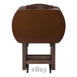 TV Tray Set Table Folding Wood Wooden Portable Stand Dinner Serving 5 Piece NEW