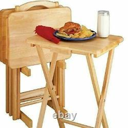 TV Trays Set Serving Natural Sofa Table Eat Drink Serve Folding Wooden 5 Piece