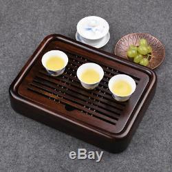 Tea Table Luxury Small Gongfu Tea Tray with Water Tank Ebony Wood 27205cm