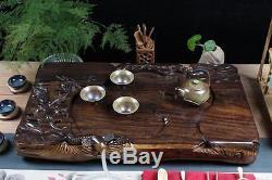 Tea tray ebony wood tea table solid wood tray fish lotus handmade carved trays
