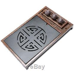 Tea tray plastic layer drainage tea table black stone carve end table cup holder