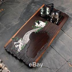 Teaset Solid wood ebony teatray with cooker Hand-painted tea sea Kung Fu tea set