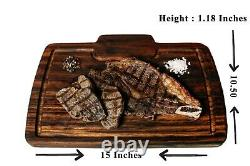 Texas Style Steak Serving Plate Wooden Tray Cutting Board Breadboard Cooked Meat