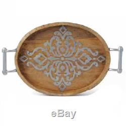 The GG Collection Gracious Goods Medium Heritage Wood and Metal Inlay Oval Tray