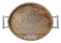The GG Collection Wood and Metal Oval Tray