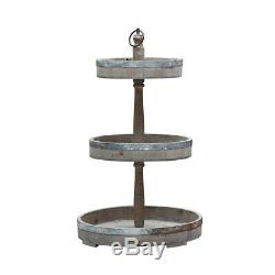 Three Tier Tray Stand Wood and Metal