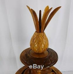 Tiki Monkey Pod Wood Pineapple Lazy Susan from Philippines Serving Centerpiece