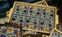 Traditional Palestinian Hand Painted Tray Colored Ceramic & Olive Wood 4833 cm