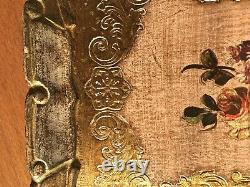 Tray Engraved Wooden Vintage Serving Wood Antique Handmade Floral from italy
