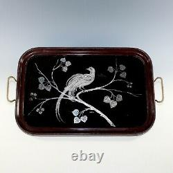 Unique Sterling Silver Inlay Wood Serving Kitchen Tray Peacock