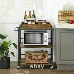 VINTAGE INDUSTRIAL Trolley Serving Drinks Cart Wine Tray Shelves Storage Table