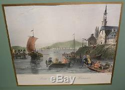 VINTAGE LADY CLARE Wood Glass 21 x 15 Serving Tray QUEBEC MONTREAL ST LAWRENCE