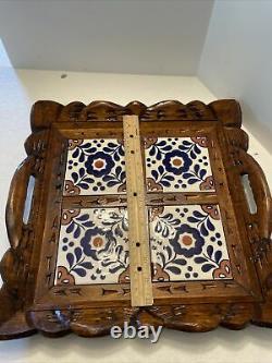 VINTAGE MEXICAN HAND CARVED WOOD & CERAMIC TILE SERVING TRAY 14 4 Tiles