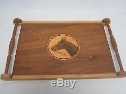 VINTAGE WOOD SERVING TRAY with INLAY EQUESTRIAN HORSE HEAD 21 WIDE X 13 1/2