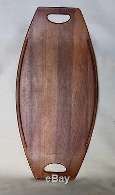 VTG Dansk Staved Teak Surfboard Serving Tray JHQ Denmark 802 Mid Century Modern