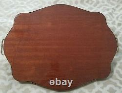 VTG Italy Burl Wood Marquetry Inlay Floral Serving Tray Brass Rim Handles 22.5'