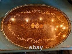 VTG Italy Burl Wood Marquetry Inlay Floral Serving Tray w Brass Rim Handles 21'
