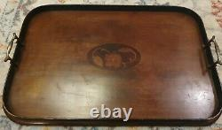 Very Rare Robertson & Colmans Norwich Marquetry Wooden serving Tray Brass Handle