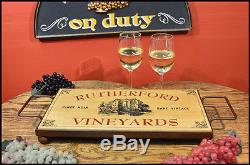 Vineyards Wood Serving Tray with Wrought Iron Framed Base, Home or Bar