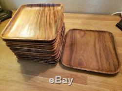 Vintage (15) Vintage MCM Teak Wood Square Serving Trays 10 & 12