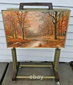 Vintage 1960's 4 Metal Folding TV Trays with Holder on Wheels Signed Robert Wood