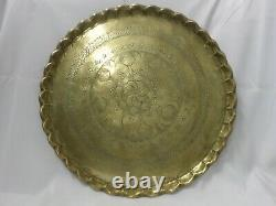 Vintage 22 Round Brass Serving Tray Table with 18 High Wooden Folding Stand