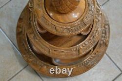 Vintage 3 Tier Pineapple Tiki Hand Carved Monkey Pod Lazy Susan Serving Tray