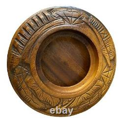 Vintage 3 Tier Pineapple Top Hand Carved Monkey Pod Lazy Susan Serving Tray 22