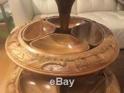Vintage 3 Tier Tiki Hand Carved Monkey Pod PINEAPPLE Lazy Susan Serving Tray