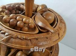 Vintage 4-Tier Hand Carved Wooden Hawaiian Pineapple Lazy Susan Fruit