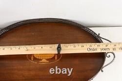 Vintage 70s Mid Century Modern MCM Wood Inlay Oval Serving Tray Barware Platter