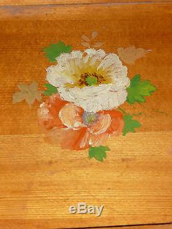 Vintage American Spruce Wood Floral Serving Tray historic Posey Mfg Co Unique
