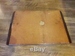 Vintage Antique Butterfly Serving Tray iridescent Butterflies Wood Inlaid Inlay