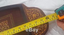Vintage Antique Serving Tray Italian Marquetry Wood Inlay Lador Swiss Music Box