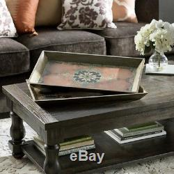 Vintage Arabesque 2 Pc Wood Ottoman Serving Decorative Tray Set Home Decor