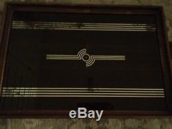 Vintage Art Deco Serving Tray Geometric Style Wood Glass