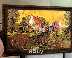 Vintage Art Deco Wood Framed Serving Tray Scenic Cottage Vibrant Colors