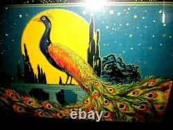 Vintage Art Deco Wood & Glass Serving Tray Colorful Peacock Silver Tone