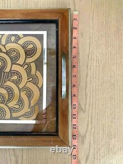 Vintage Art Deco Wood & Glass Serving Tray Gold Peacock Silver Lines 24 x 14