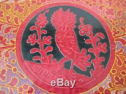 Vintage Asian Hand Painted Owl Lacquer Wooden Serving Tray, 13 X 9 1/2 X 1
