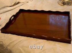 Vintage Baker Furniture Company Chippendale Mahogany Wood Butlers Tray Display